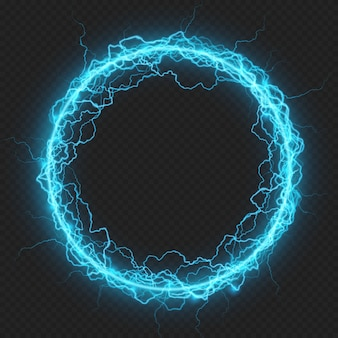 Round frame with charged energy elementary particle, glowing lightning, electric element.  on transparent background.