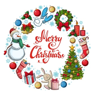 크리스마스 아이콘 라운드 프레임입니다. 장식 다채로운 스케치 스타일 크리스마스 그림입니다.