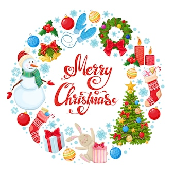 クリスマスのアイコンと丸いフレーム