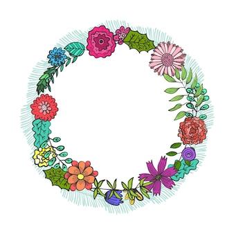 다채로운 낙서 꽃과 잎 라운드 프레임입니다. 여름 유치한 꽃 원형 화환