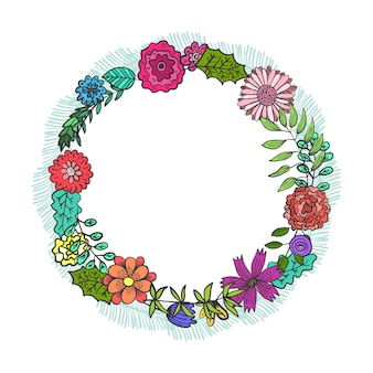 Round frame with colorful doodle flowers and leaves. summer childish floral circle wreath