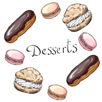 Round frame with desserts.hand drawn   illustration. isolated