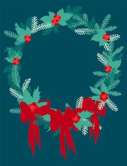 평면 스타일의 새해 또는 크리스마스 인사를 위한 전나무 가지가 있는 둥근 프레임.