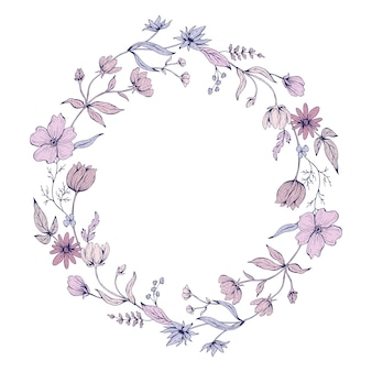 Round frame with flower doodles. hand drawn  illustration.
