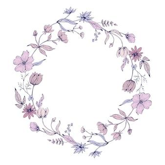 花の落書きと丸いフレーム。手描きイラスト。