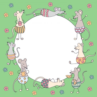 Round frame with funny cute rats and mice and colorful flowers on green background, symbol of 2020