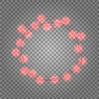 Round frame with glowing lights, garlands of red.