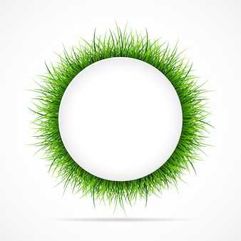 Round frame with green grass