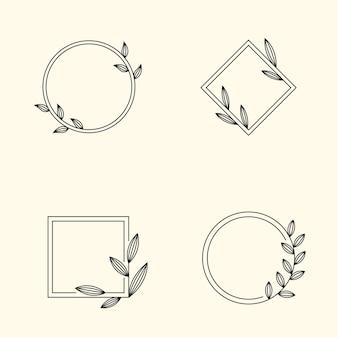 Круглая рамка с листьями в линейном стиле