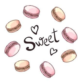 Round frame with macaroon desserts. hand drawn   illustration.