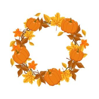 オレンジと黄色のカエデの葉とカボチャの丸いフレーム。自然の贈り物とテキストのための空きスペースのある枝のある明るい秋の花輪