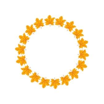 オレンジと黄色のカエデの葉の丸いフレームは、自然と空の贈り物で明るい秋の花輪を残します...