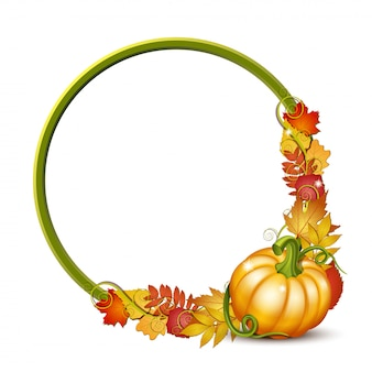 Round frame with orange pumpkins and autumnal maple leaves