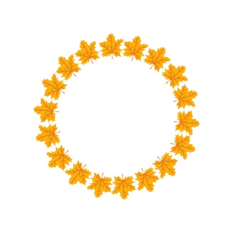 Round frame with orange and yellow maple leaves bright autumn wreath with gifts of nature and empty ...