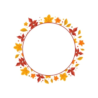 Round frame with orange and yellow maple leaves bright autumn wreath with gifts of nature with empty...