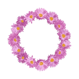 Round frame with pink flowers