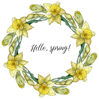 Round frame with pretty yellow daffodils.