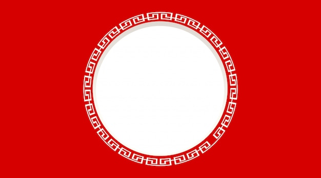 Round frame with red background