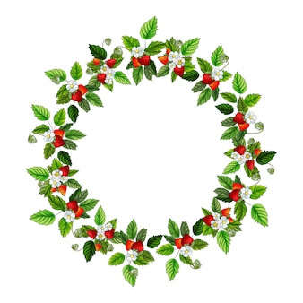 Round frame with red strawberry, green leaves.