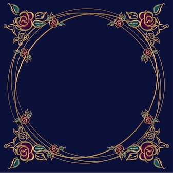 Round frame with roses