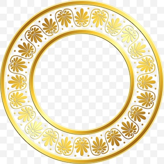 Round frame with traditional vintage golden greek ornament, meander pattern