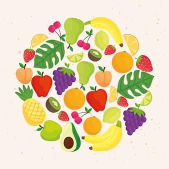 Круглая рамка с тропическими свежими фруктами