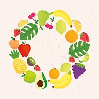 Круглая рамка с тропическими фруктами