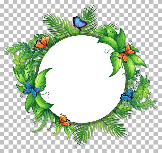 Cornice rotonda con foglie tropicali e farfalle su sfondo trasparente