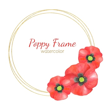 Round frame with watercolor red poppy flowers and golden circles