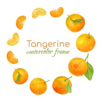 Round frame with watercolor tangerines citrus wreath illustration Premium Vector