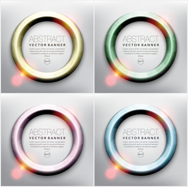 Round frames in 4 different pastel colors. frames with shiny lights. isolated on the white panel.  illustration. eps 10.