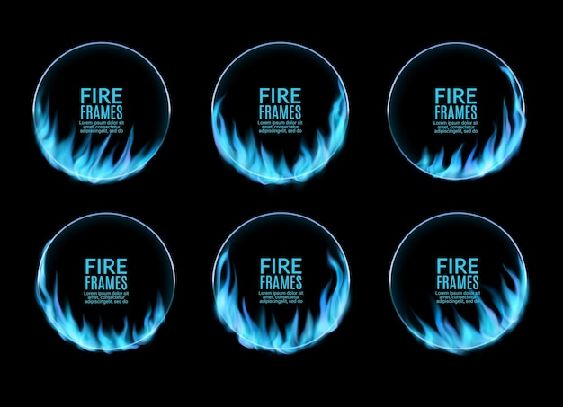 Round frames, blue gas fire flame, vector burning rings. burned hoop holes in fire, realistic burn circles with flame tongues. 3d flare circles for circus performance, isolated circular borders set