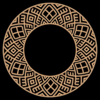 Round frames made with golden chains. on black. vector illustration.
