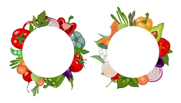 野菜の丸いフレーム。ファーマーズマーケットからの健康的な有機野菜。