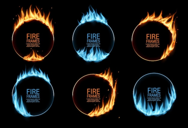 Round frames with fire, gas flames or circle rings