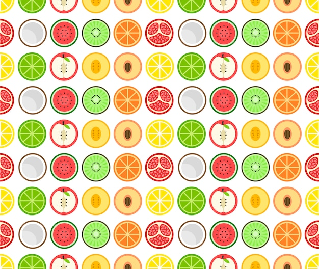 Round fruit seamless pattern  flat icon. isolated on white
