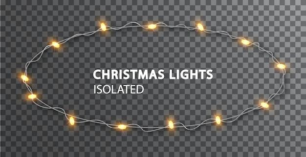 Ghirlanda rotonda per la decorazione del design festivo. luci di natale isolate