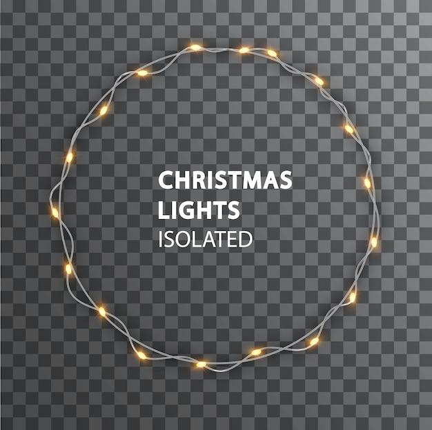 お祝いのデザインの装飾のための丸い花輪。隔離されたクリスマスライト。