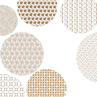 Round geometric golden different patterns on white