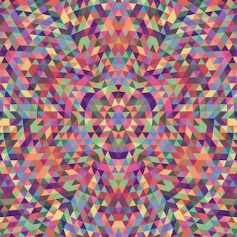 円形の幾何学三角形万華鏡の曼荼羅の背景 - 多色の三角形からの対称的なベクトルパターンの設計