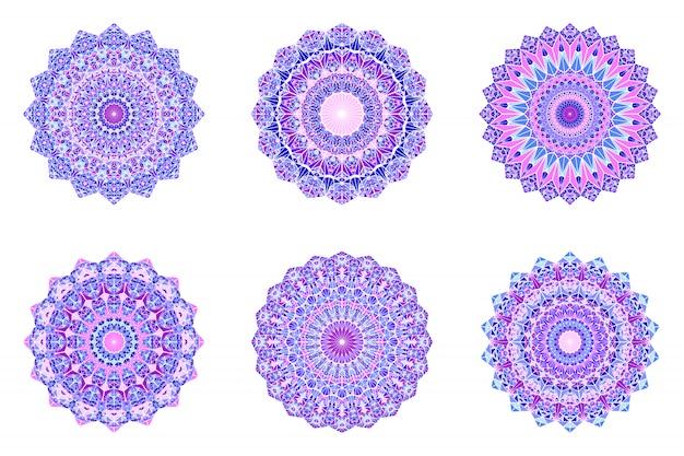 Round geometrical ornate triangular mosaic mandala set