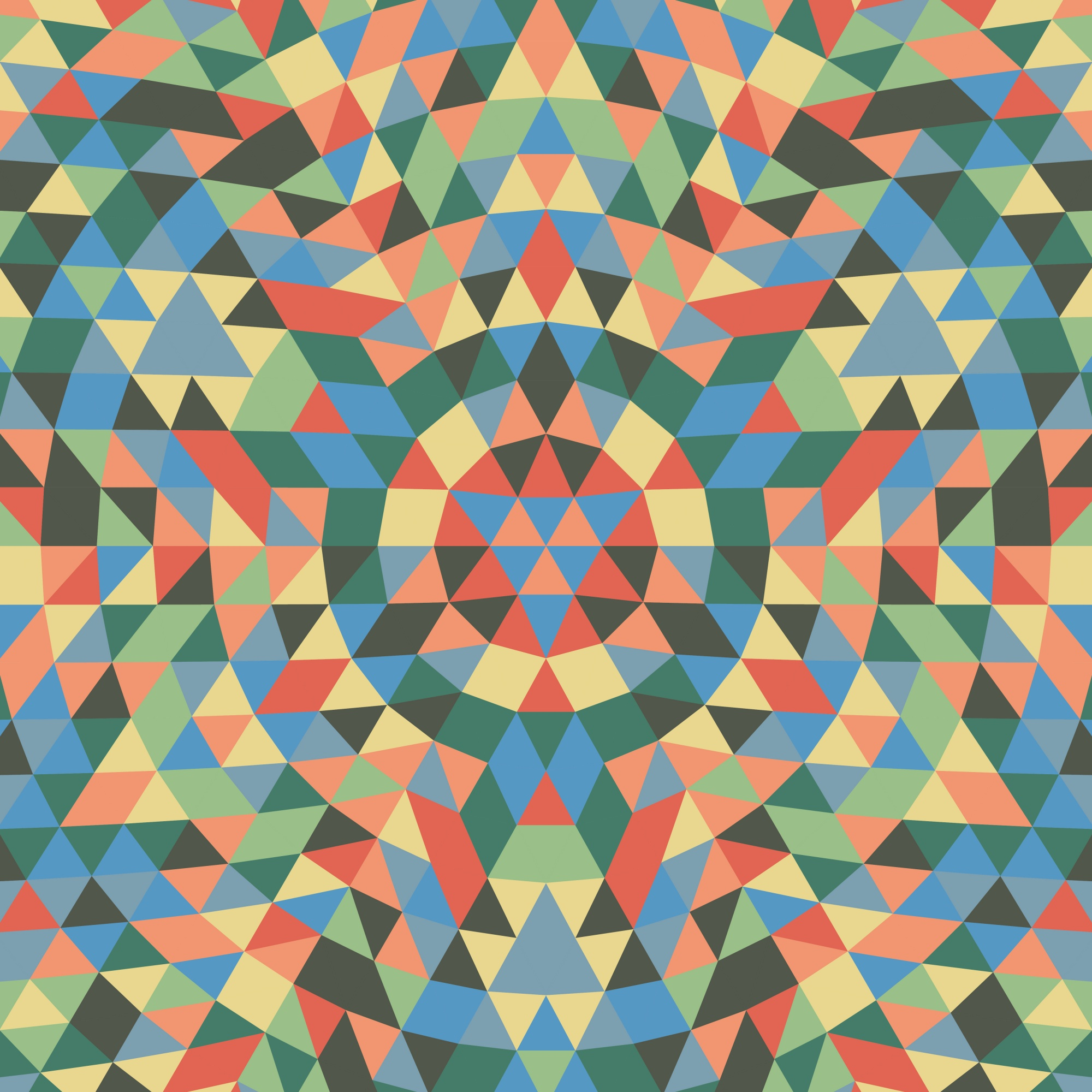 Round geometrical triangle mandala background - symmetrical vector pattern design from colorful triangles