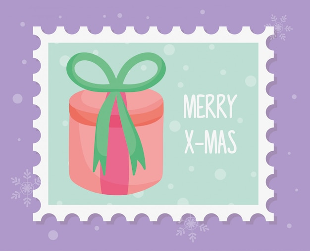 Round gift box with bow merry christmas stamp