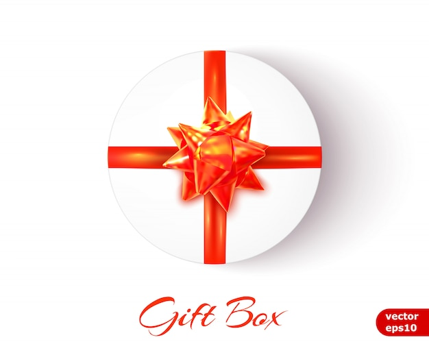 Round gift box with a red bow and ribbons. vector illustration