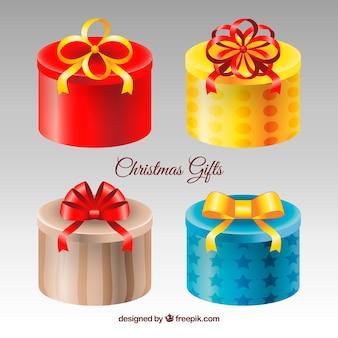 Круглые подарочные коробки на рождество