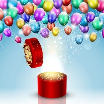 Круглый giftbox с воздушными шарами