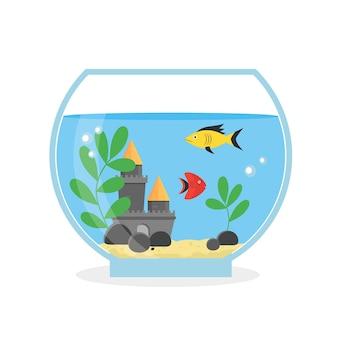 Round glass aquarium for interior home. equipment hobby flat style.