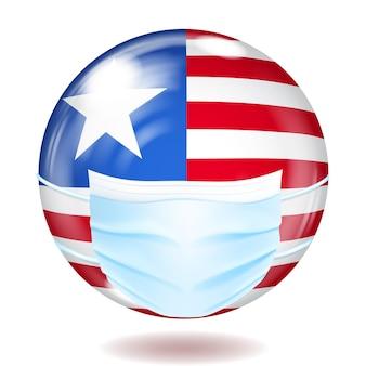 コロナウイルスの保護のための医療用使い捨てマスクを備えた米国旗の色の丸いガラスボタン