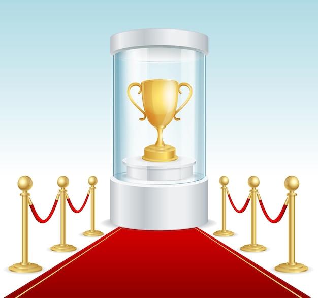 Круглая стеклянная витрина с золотой чашкой и красной дорожкой. цилиндр для церемоний награждения. векторная иллюстрация