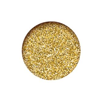 Round  glitter golden banner, hole sparkling dust texture